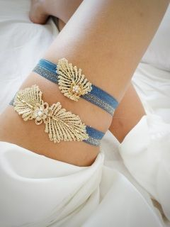 Gorgeous navy & gold double garter embellished with gold beads and flower.