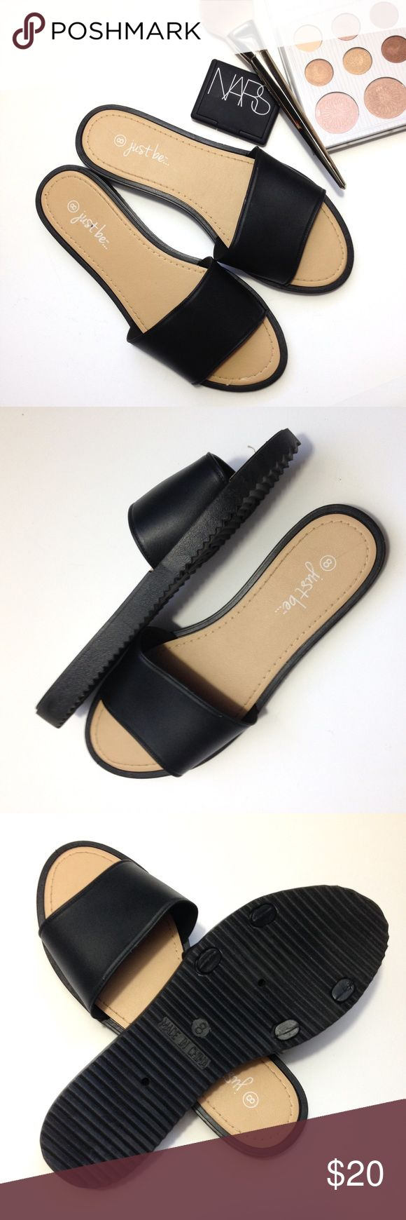 Simple Black Slides Adorable simple black Slider sandals. Show says size 8 but really fits like a 7-7.5. Never been worn. Super trendy✨ JustFab Shoes Sandals