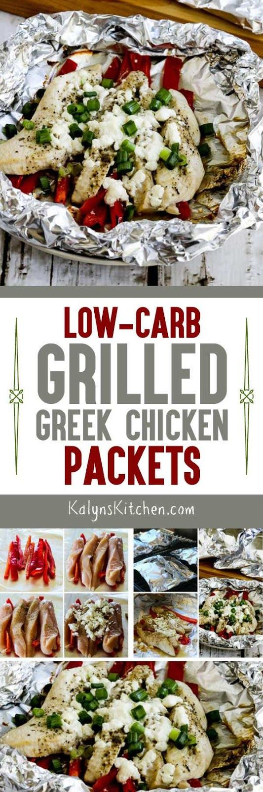 Low-Carb Grilled Greek Chicken Packets cook on the grill in about 15 minutes, and this is as easy as it is delicious! The recipe is also Keto, low-glycemic, gluten-free, and South Beach Diet friendly. [found on KalynsKitchen.com]