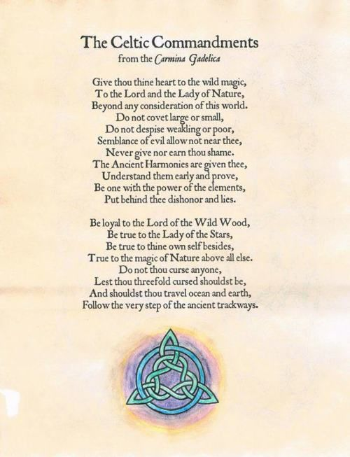 Book of Shadows:  The Celtic Commandments.