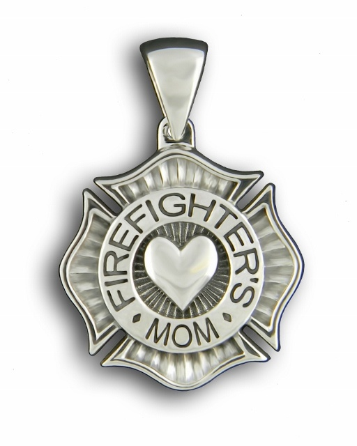 Firefighter's Mom Sterling Silver  Pendant