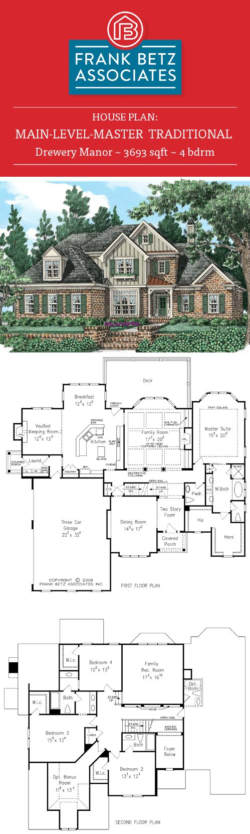Drewery manor 3693 sqft 4 bdrm traditional house plan design by frank betz
