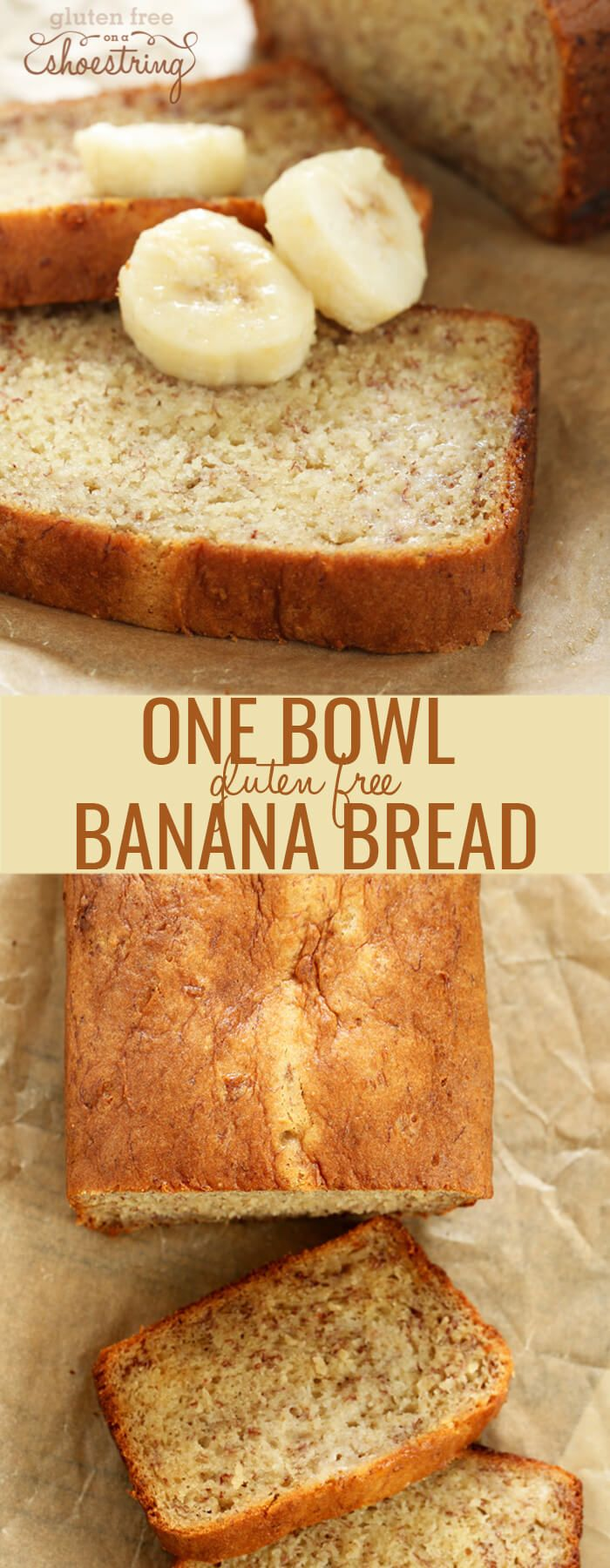 Moist, tender gluten free banana bread made the quick and easy way, in one bowl. Add nuts, make it into banana muffins. Make it your own!