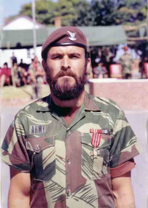 Rhodesian selous scout. Specifically WO2 Charlie Krause, recipient of the Bronze Cross of Rhodesia.