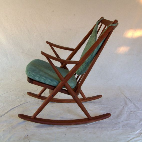 Rocking chair mid century teak vintage by frank by for Chaise bercante antique