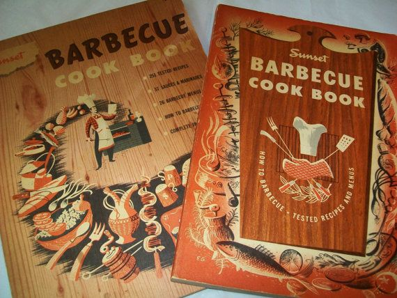 SALE - 2 Midcentury cookbooks, Sunset, 1950s, barbecue, cook book on Etsy, $9.50
