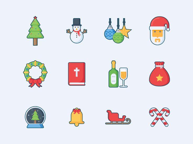 Merry Christmas Freebie Icon Pack #freebie #christmas #xmas #icons #iconpack #filledoutline