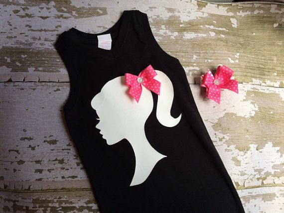 Barbie Silhouette Shirt with Bow and Hairbow by littlemacboutique