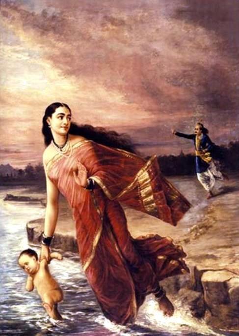 Mahabharata — The Kuru king Santanu stops his wife, the goddess Ganga from drowning their eighth child, who became known as Bhishma, grand uncle of the Pandavas and the Kauravas