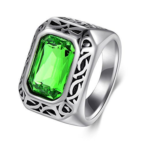 DALARAN Stainless Steel Rings for Women Men Green Emerald Color Square Stone Size 8-12: DALARAN JEWELRY--Your Exclusive Jewelry Adviser/bbr We are committed to provide good quality and affordable jewelry for our dear customers.br We will always work hard to give our dear customers a good shopping experience. br br DALARAN Titanium Steel Ring /bbr The ring is made of 316L stainless steel ,jewelry surface is not easy to scratches, fine workmanship, the details of treatment; stainless s...
