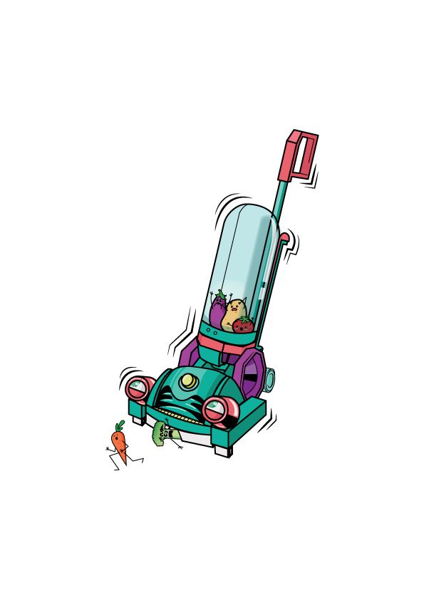 Vegetarian Vacuum made for an English textbook called Tiddly Link 5 by Marcelle Versteeg.