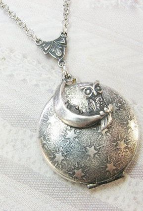 Silver Moon & Owl Locket Necklace