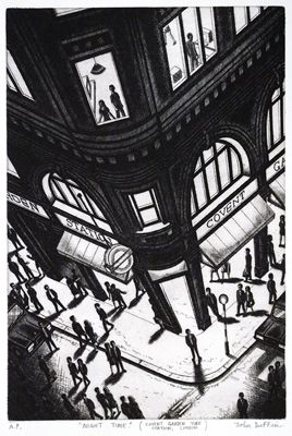 John Duffin - Night Time (Covent Garden Tube Station, London) (etching)