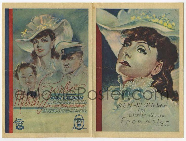 eMoviePoster.com: 3h043 ANNA KARENINA German herald 1936 Greta Garbo, Fredric March, Bartholomew, different SN art!