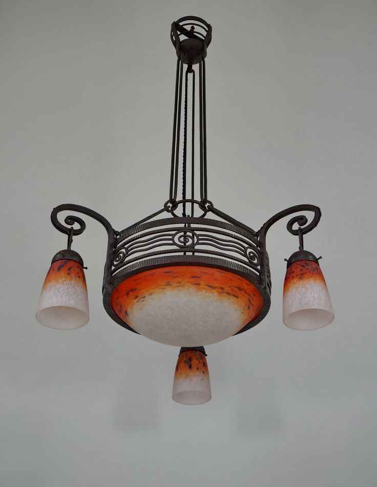 Art deco chandelier by fournet schneider 1930
