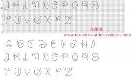 Шрифт Дисней вышивки крестом алфавит с обратным стежком каждый Размер письма 10 х 10 стежков