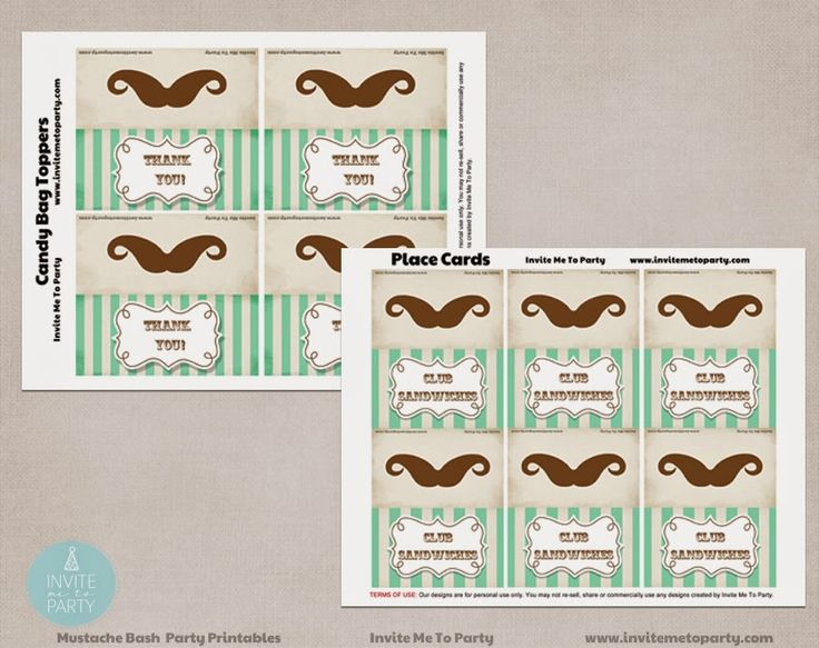Moustache Bash Menu Cards and Favor Bag Toppers Invite Me To Party: Mustache Bash Party / Little Man Party
