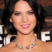 Center Parted Black Bob Hairstyle With Waves- Olivia Munn Hairstyles