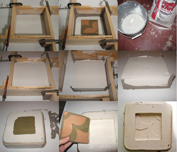 making a plaster mold of an art tile