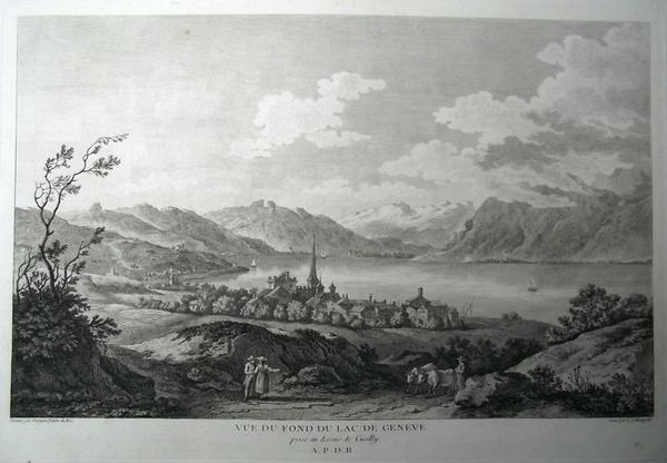 1780 Masquelier after Pérignon - CULLY Vaud «Vue du fond du Lac de Genève prise…