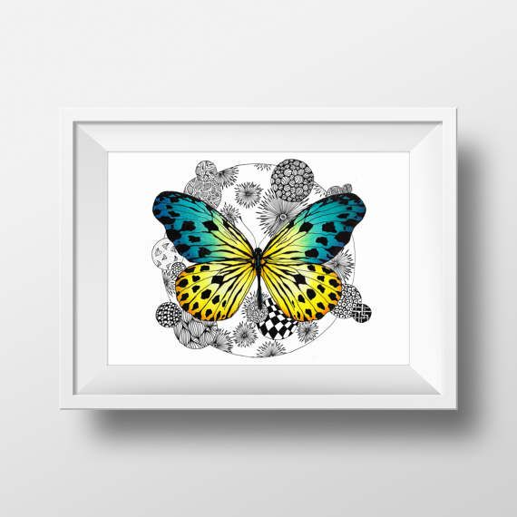 Butterfly Printable Yellow And Blue Colored Art by doneBYmargo