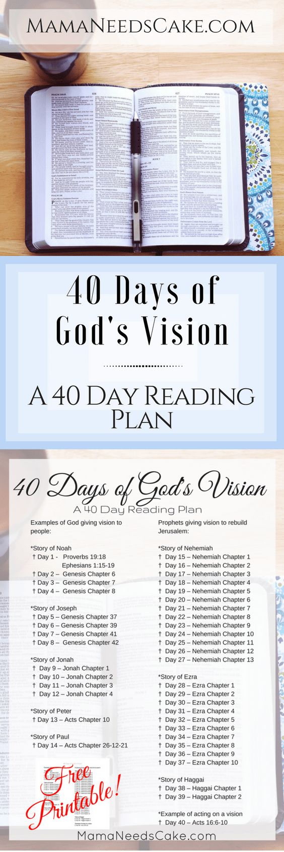 40 Days of God's Vision - Reading Plan & Free Printable! - One of the hardest thing about reading the Bible is opening it. The Bible can be very