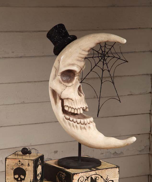Haunted Skeleton Moon | Bethany Lowe Halloween Decor - The Holiday Barn