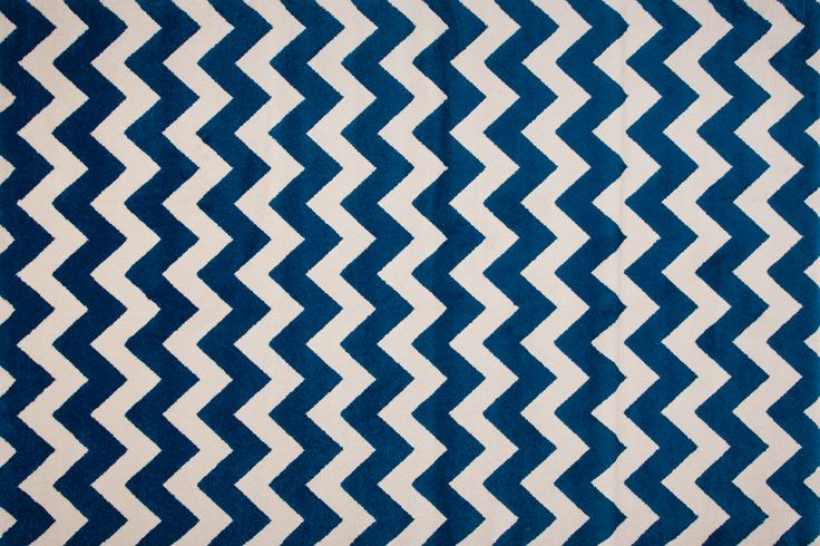 Blue chevron rug from the London collection.
