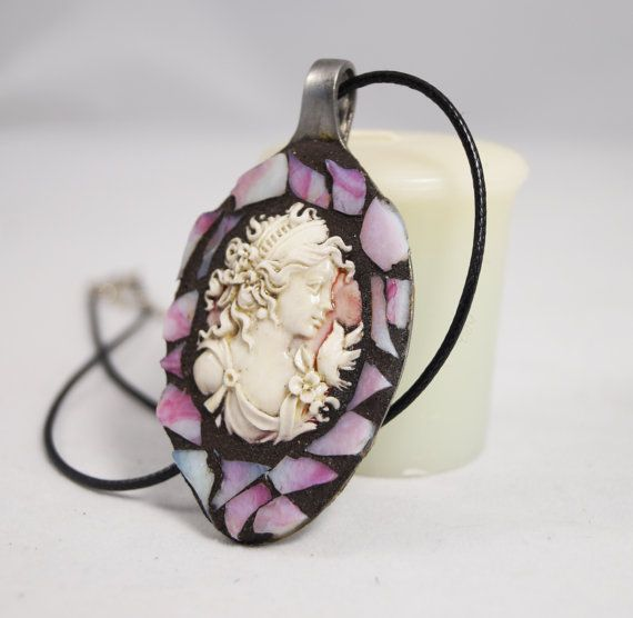 Victorian Spoon Jewelry Mosaic Cameo by PiecesofhomeMosaics