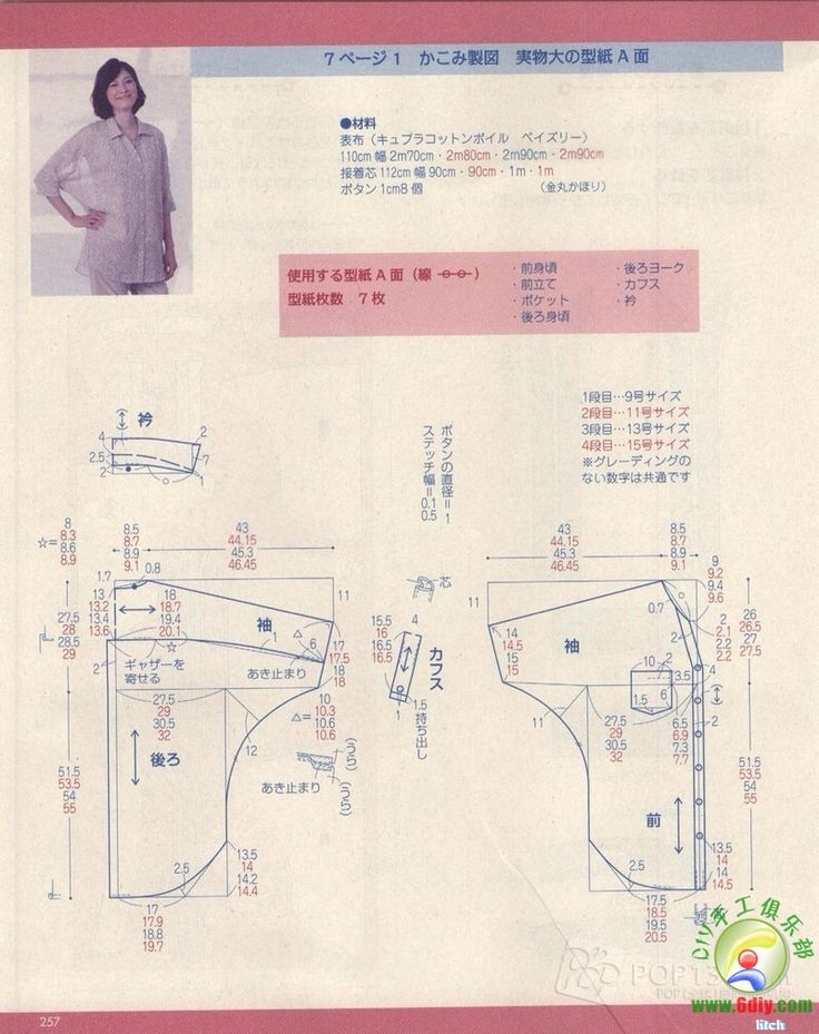 vintage shirt, pattern instructions