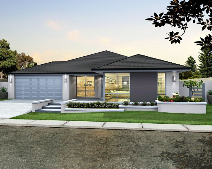 'The Matrix' elevation. 17m frontage. Contrast render, spacious porch, feature glazing to master suite.    View Floorplan on: http://www.pinterest.com/pin/575264552374223839/    #elevation #facade #house #home #smarthomesforliving