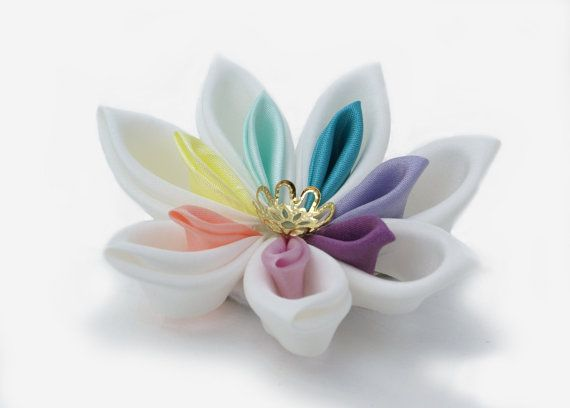 Rainbow Pastel Wedding Hair Piece  Hair Flower  by cuttlefishlove, £18.00
