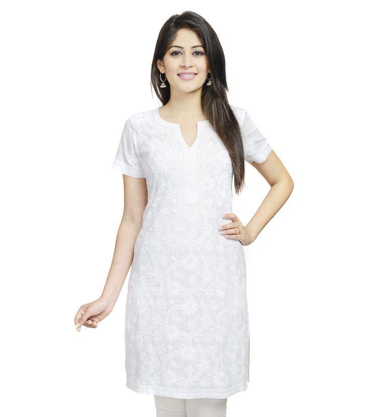 #White Cotton Cambric #Lucknavi #Chikankari Mini #Kurta by #Fabindia at #Indianroots
