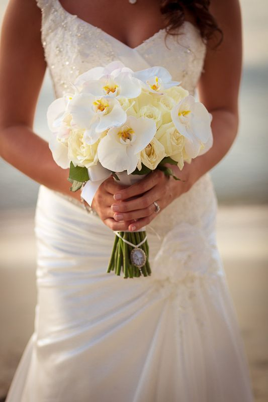 White phalaenopsis and ivory rose orchid bride's bouquet