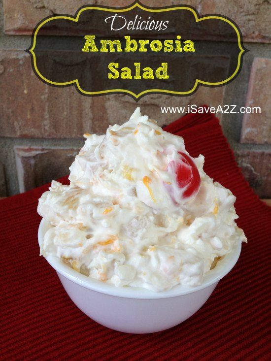 This is the BEST Ambrosia Salad Recipe I've EVER TRIED!  It's made with vanilla pudding!!  My guests LOVED IT! #Summer #Recipes