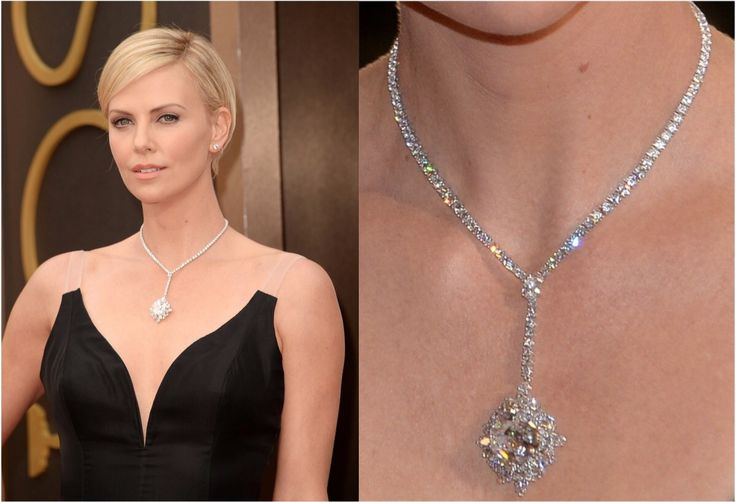 Charlize Theron turned to Harry Winston for her jewelry at the 2014 Oscars, wearing a diamond cluster pendant necklace featuring a 31-carat D Flawless emerald-cut diamond valued at $15 million. She paired the necklace with diamond stud earrings estimated to be worth $800,000. #oscars #oscarfashion #oscarjewelry #expensive