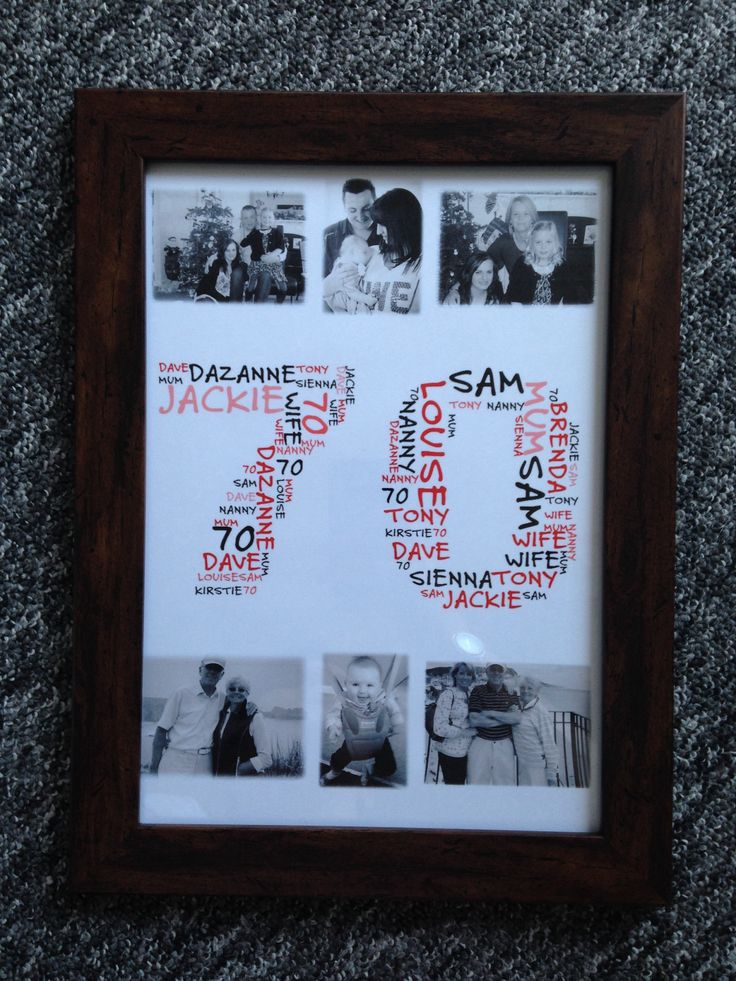 70 Birthday Word Cloud. Price dependent on frame and size and whether you would like photos included. Product pictured in photo is A4 and £18.50 plus £3.75 p@p.