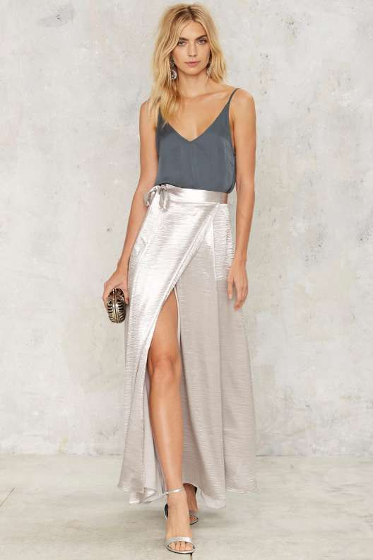 Breakthrough Satin Slit Skirt