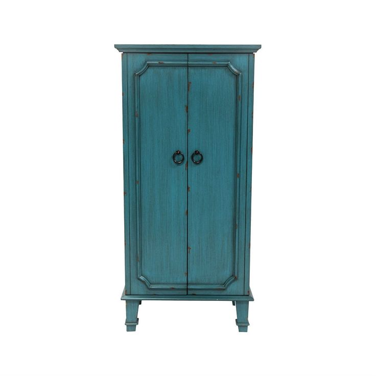 Vintage Turquoise Hand Painted Jewelry Armoire With Antique Drawer Pulls