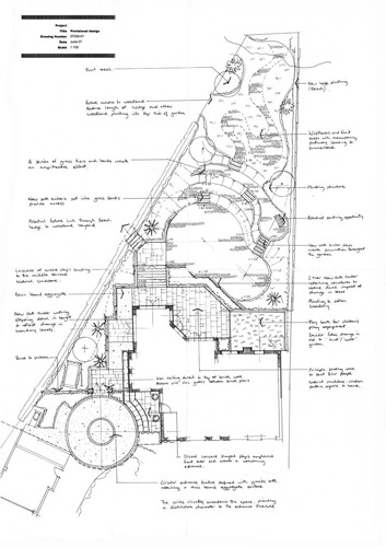 Overlapping circle design enhances width of a triangular garden.