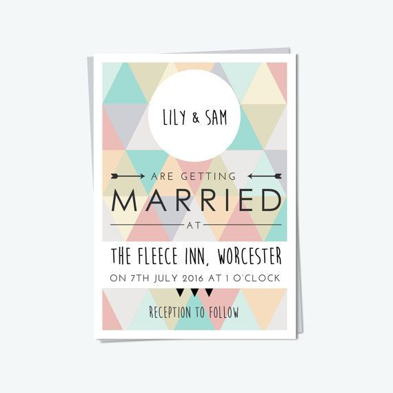 Geometric wedding theme stationery invitation, triangle pastel. Wedding trends and inspiration for bride and groom in 2014/2015.