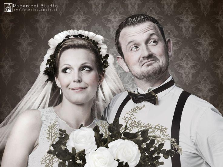 Monidło, portret pary młodej vitage