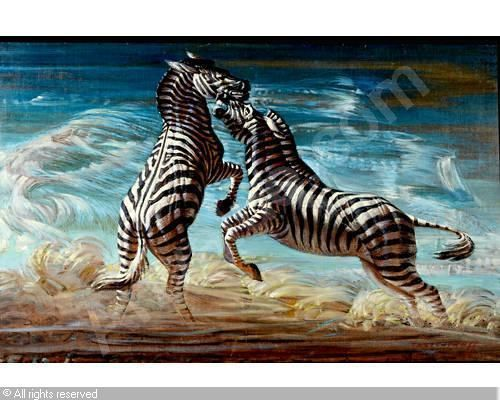 TRETCHIKOFF Vladimir Griegorovich - 'Fighting zebras'