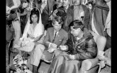March 10, 1968: Sen. Robert F. Kennedy offers Cesar Chavez some food during a special Mass in Delano attended by 6,000 people. Chavez ended a 25-day fast to promote nonviolence. Helen Chavez, Cesar's wife, is at left.
