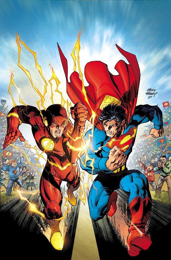 Running Race Between The Flash And Superman Superman Art Dc
