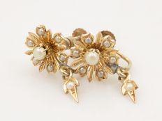 Antieke oorbellen, goud met kleine pareltjes - 19e eeuw