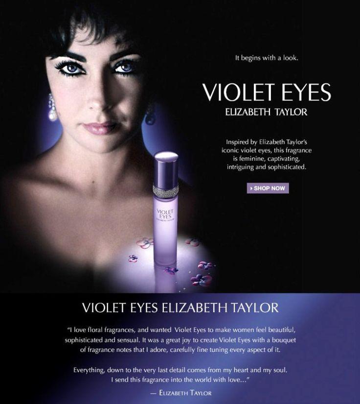 """«Мне нравятся цветочные запахи, и я хотела, чтобы «Фиолетовые Глаза» позволили женщинам чувствовать себя красивыми, искушенными и чувственными. Это была огромная радость, создавать духи """"Violet Eyes"""" с букетом ароматов, которые я сама обожаю, тщательно настраивая каждый его аспект. Всё, вплоть до мельчайшей детали, идет из моего сердца, моей души. Я посылаю их в мир с любовью…», - Элизабет Тейлор."""