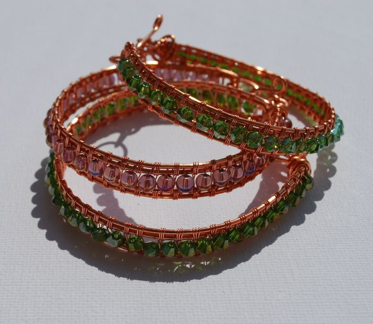 Minimalist Elegant  Wrapped Copper Wire Bracelet With Crystals by IacobJewelry on Etsy