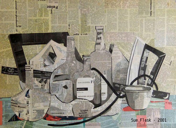 """Saatchi Art Artist: Sue Flask; Paper 2001 Collage """"Still Life - 2001"""""""