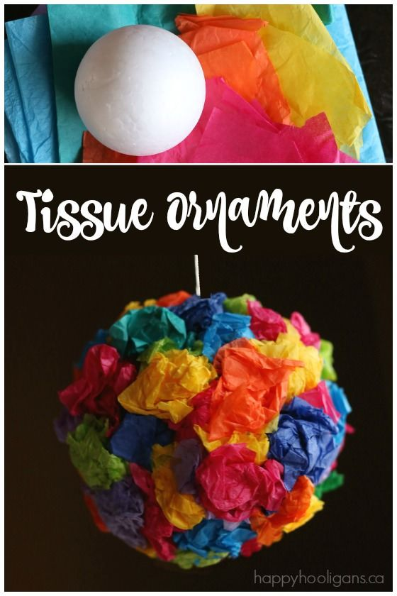 Tissue Paper Ornaments - so easy and really fun to make. Love the vibrant colours. And they cost practically nothing to make because you're using scraps of used tissue paper! Love that! Happy Hooligans